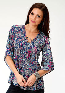WOMENS MULTICOLORED FLORAL PRINT LONG SLEEVE WESTERN SHIRT