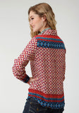 WOMENS MULTICOLORED BORDER PRINT LONG SLEEVE WESTERN SHIRT