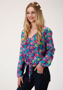 WOMENS BLUE PINK AND GREEN CACTUS PRINT LONG SLEEVE WESTERN SHIRT