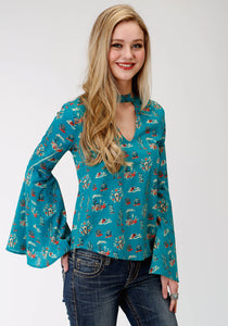 WOMENS BLUE CACTUS SCENE PRINT LONG SLEEVE WESTERN SHIRT