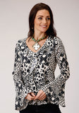 WOMENS BLACK AND WHITE PRINT LONG SLEEVE WESTERN SHIRT