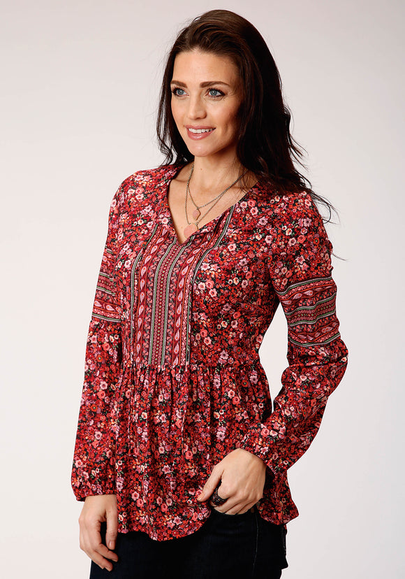 WOMENS RED FLORAL PRINT LONG SLEEVE WESTERN SHIRT