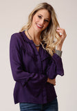 WOMENS SOLID PURPLE CHALLIS LONG SLEEVE WESTERN SHIRT