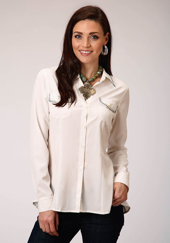 WOMENS SOLID WHITE WITH BLACK WHIP STITCH POCKET  LONG SLEEVE WESTERN SHIRT