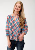 WOMENS LONG SLEEVE WESTERN SHIRT FIVE STAR COLLECTION FALL I DESERT SUNRISE PLAID