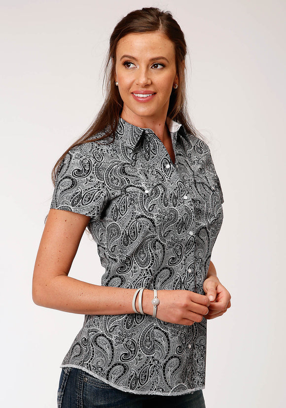 WOMENS BLACK AND WHITE PAISLEY PRINT SHORT SLEEVE SNAP WESTERN WESTERN