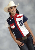 WOMENS RED WHITE AND BLUE COLORBLOCKED PIECED SHORT SLEEVE WESTERN SNAP SHIRT
