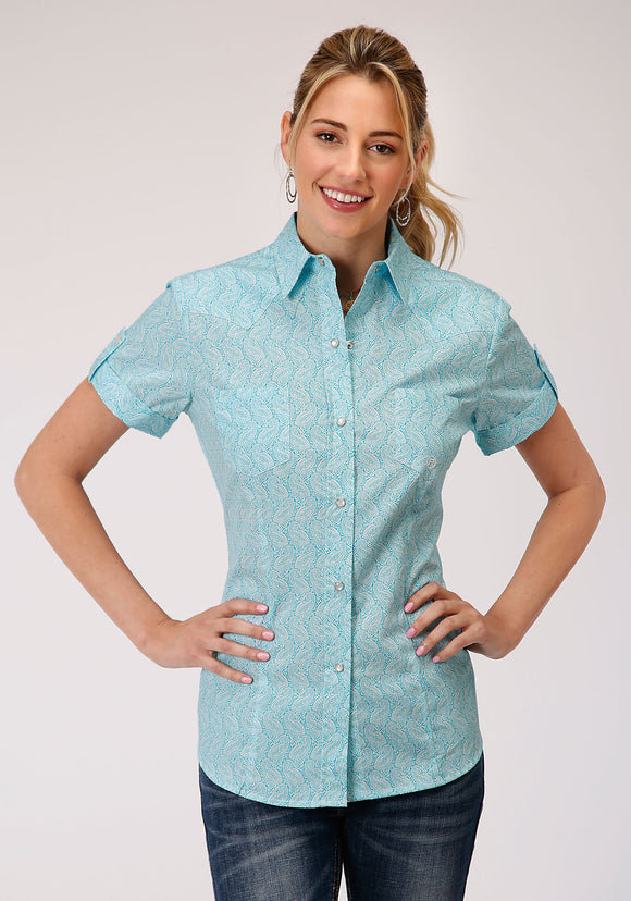 WOMENS TURQUOISE PAISLEY PRINT SHORT SLEEVE SNAP WESTERN WESTERN
