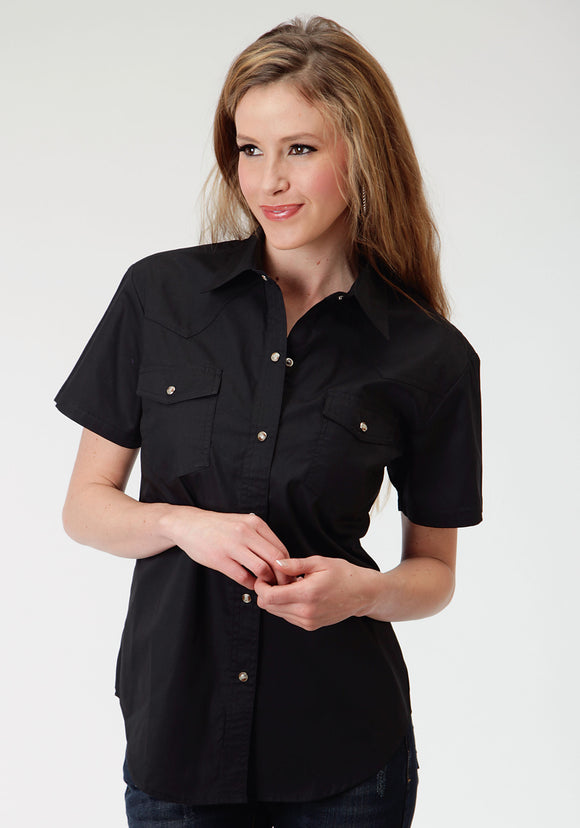 WOMENS BLACK SOLID SHORT SLEEVE WESTERN SNAP SHIRT