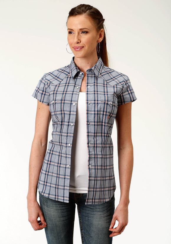 WOMENS BLUE PLAID SHORT SLEEVE WESTERN SNAP SHIRT