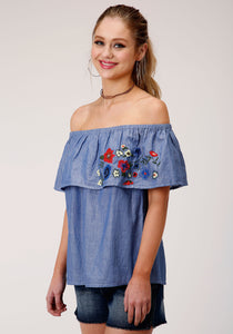 WOMENS LIGHT BLUE DENIM WITH FLORAL EMBROIDERY SHORT SLEEVE WESTERN SHIRT