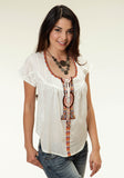 WOMENS WHITE SOLID WITH AZTEC EMBROIDERED SHORT SLEEVE BLOUSE