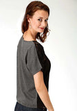 WOMENS BLACK SOLID SHORT SLEEVE TOP