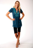 WOMENS TEAL WITH FLORAL EMBROIDERY SHORT SLEEVE WESTERN SHIRT