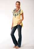WOMENS YELLOW WITH BLUE FLORAL EMBROIDERY SHORT SLEEVE WESTERN SHIRT