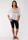 WOMENS WHITE SOLID LACE SHORT SLEEVE TOP