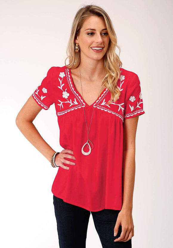 WOMENS RED WITH WHITE FLORAL EMBROIDERY SHORT SLEEVE WESTERN SHIRT