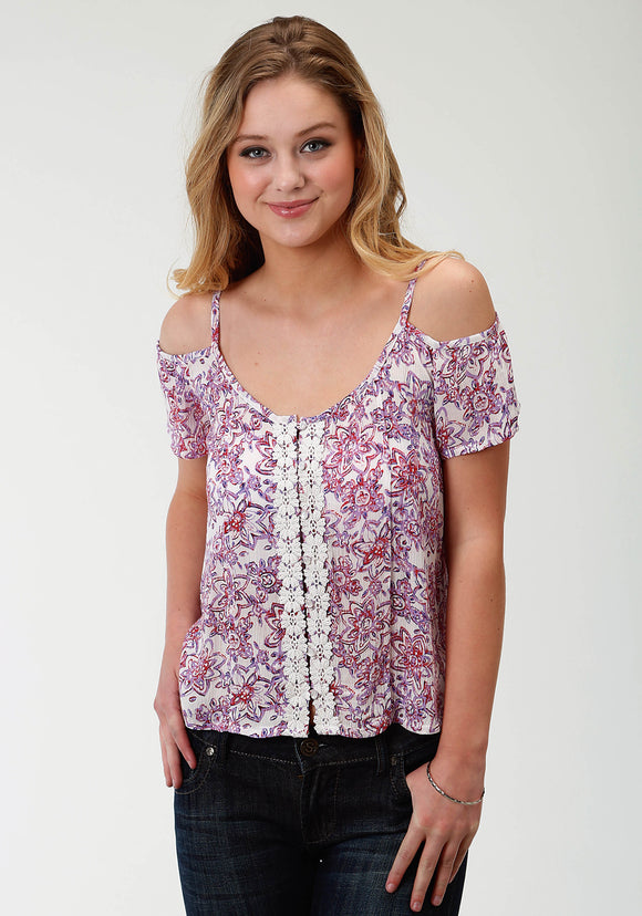 WOMENS PURPLE FLORAL PRINT SHORT SLEEVE TOP