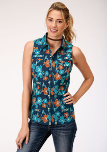WOMENS BLUE GROUND MULTICOLORED TROPICAL PRINT SLEEVELESS WESTERN SNAP SHIRT