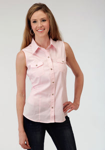 WOMENS PINK SOLID SLEEVELESS WESTERN SNAP SHIRT