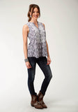 WOMENS MULITCOLORED PAISLEY PRINT SLEEVELESS WESTERN BLOUSE