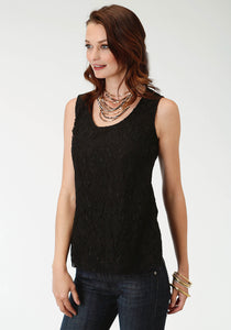 WOMENS BLACK LACE TANK