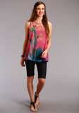 WOMENS MULTICOLORED SUBLIMATED CACTUS SCENE SLEEVELESS WESTERN TOP