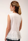 WOMENS WHITE WITH SILVER LUREX SLEEVELESS TOP