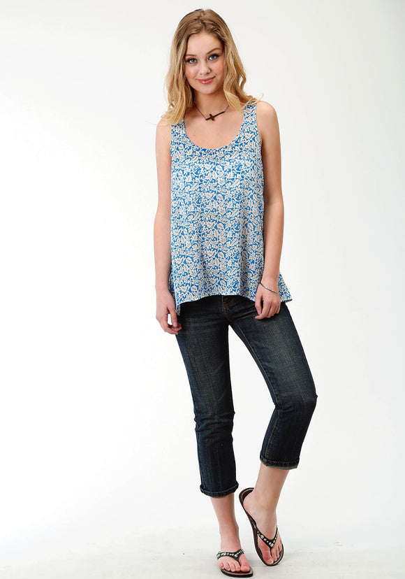 WOMENS BLUE PRINT SLEEVELESS WESTERN TOP