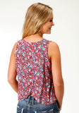 WOMENS MULTI COLORED FLORAL PRINT SLEEVELESS WESTERN TOP