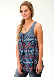 WOMENS SLEEVELESS WESTERN BUTTTON SHIRTFIVE STAR COLLECTION SPRING III SUNSET TAPESTRY TANK
