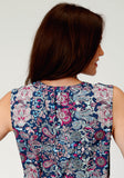 WOMENS MULTICOLORED FLORAL PRINT SLEEVELESS WESTERN SHIRT