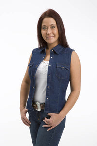 WOMENS DENIM BLUE SLEEVELESS WESTERN SNAP SHIRT
