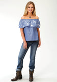 WOMENS BLUE DENIM SLEEVELESS WESTERN TOP