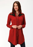 WOMENS RED DRESS WITH FLORAL EMBROIDERY