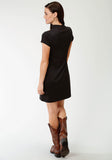 WOMENS BLACK WITH FLORAL EMBROIDERY SHORT SLEEVE DRESS