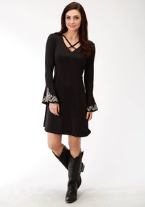 WOMENS BLACK SOLID WITH WHITE EMBROIDERY POLY SPANDEX JERSEY DRESS