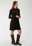 WOMENS SOLID BROWN DRESS