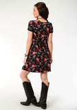 WOMENS BLACK GROUND FLORAL PRINT SHORT SLEEVE KNIT DRESS