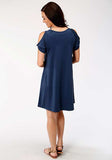 WOMENS BLUE ORCHID SOLID DRESS