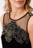 WOMENS SOLID BLACK WITH METALLIC EMBROIDERY  SLEEVELESS DRESS