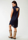WOMENS BLUE SOLID DRESS WITH EMBROIDERED FRONT SLEEVELESS DRESS