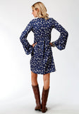 WOMENS BLUE FLORAL PRINT LONG SLEEVE DRESS