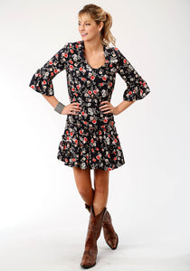 WOMENS BLACK RED AND WHITE PRINTED ROSES LONG SLEEVE DRESS