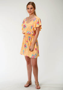 WOMENS YELLOW RED AND BLUE FLORAL PRINT SHORT SLEEVE DRESS