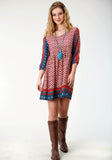 WOMENS MULTICOLORED BORDER PRINT LONG SLEEVE WESTERN DRESS