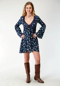 WOMENS BLUE CACTUS PRINT LONG SLEEVE DRESS