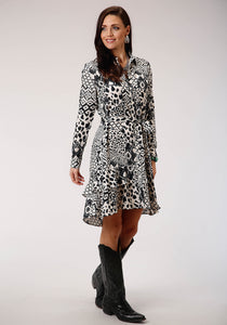 WOMENS BLACK AND WHITE PRINT LONG SLEEVE DRESS