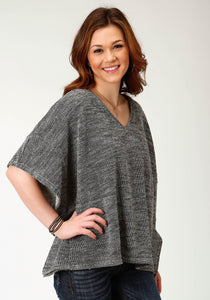 WOMENS GRAY KNIT PONCHO