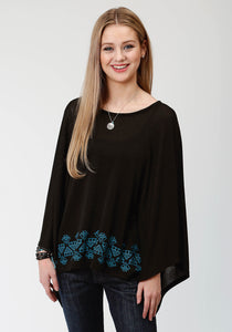 WOMENS BLACK AND TURQUOISE SWEATER KNIT PONCHO